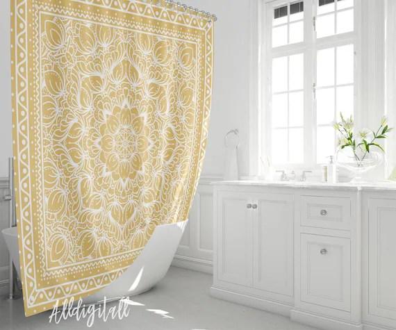 boho shower curtain mustard yellow bathroom decor boho bathroom mat yellow shower curtain hippie bathroom decor bohemian bath mat mandala