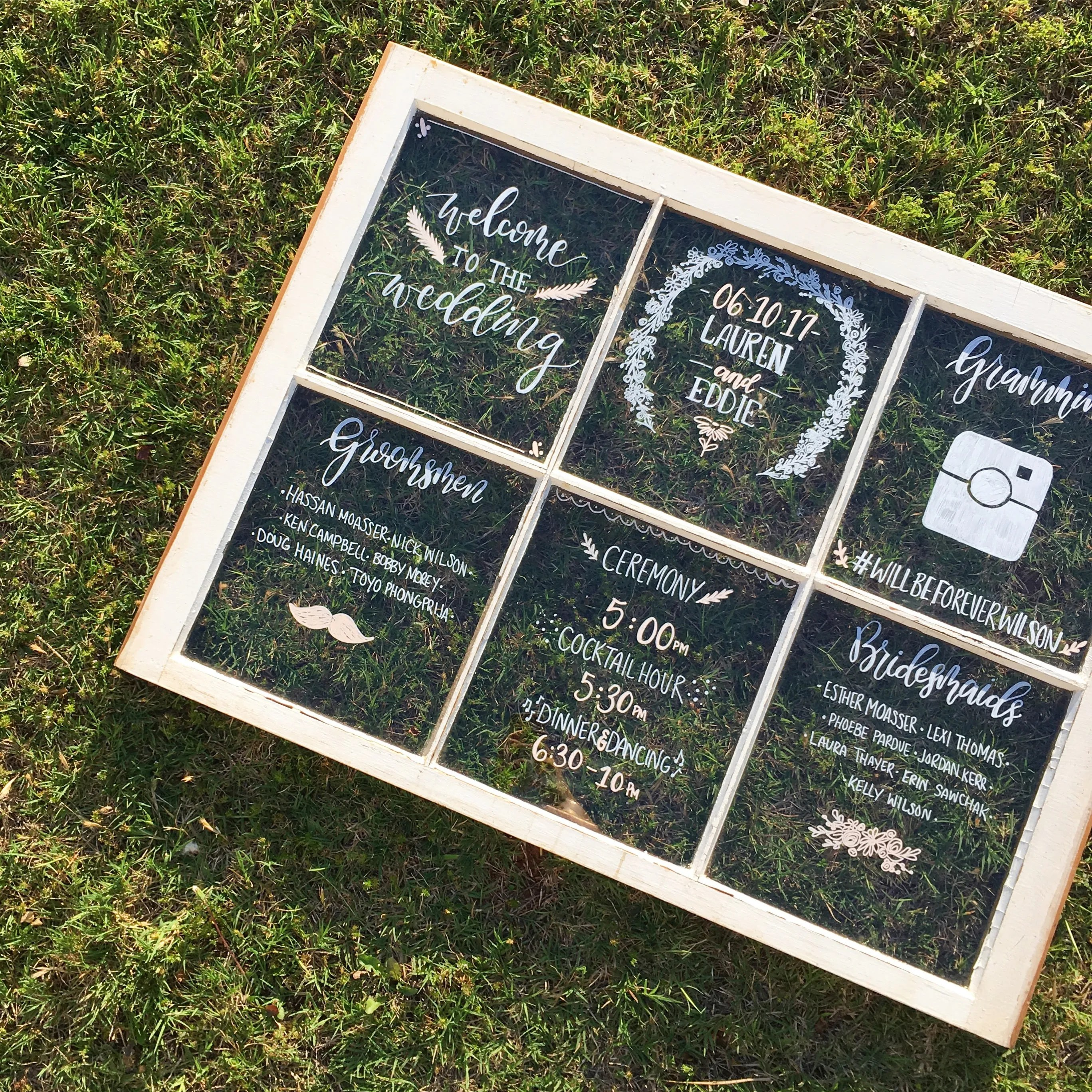 Hand lettered rustic wedding window itinerary seating chart customizable menu welcome sign also etsy rh