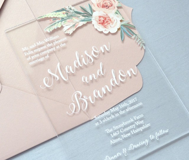 Madison Acrylic Wedding Invitation Clear Acrylic Invitation With White Ink And Flowers Thick Card Stock Envelopes