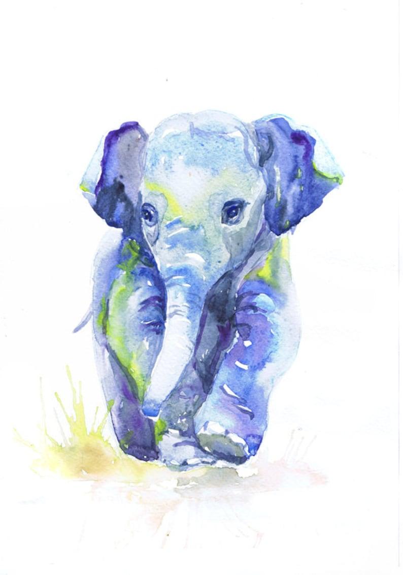 baby elephant art watercolor