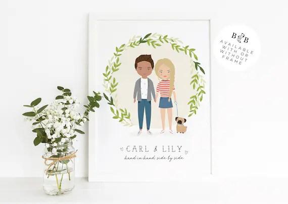Custom Illustrated Couple Art Print