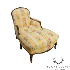 French Bergere Chair Metal Accent Etsy Brunschwig And Fils Louis Xv Style W Ottoman