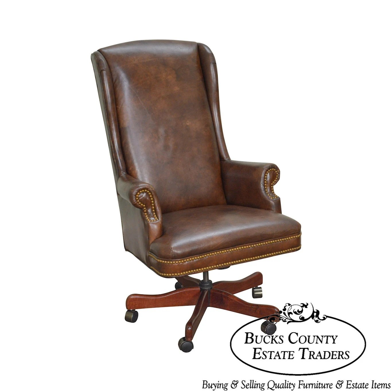 wood and leather office chair swing nook etsy quality brown high back executive a