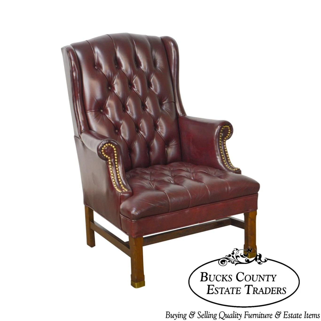 oxblood leather wing chair stressless chairs chippendale style tufted by hickory