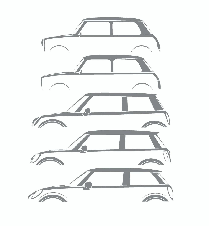 Car silhouette history stickers for Mini Cooper classic