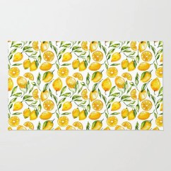 Lemon Kitchen Rug Ikea Base Cabinets Etsy Decor Yellow Throw Flatweave Dining Room Area Rugs Citrus Print Home