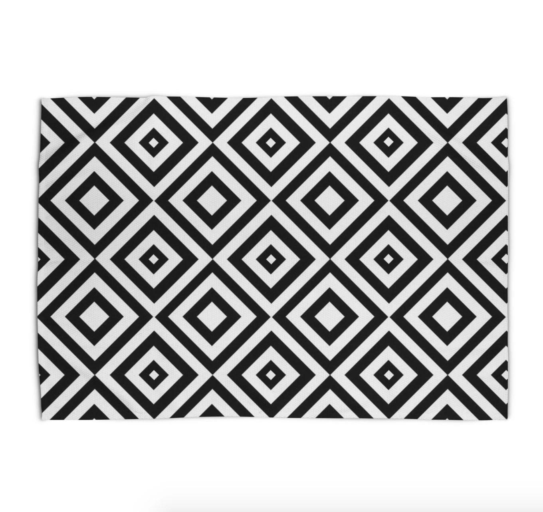 Black And White Area Rug Geometric Print Rug 5x7 Modern Rugs 3x5 4x6 Area Rug 2x3 Flat Weave Throw Rug Bedroom Women Dining Living Room Rug
