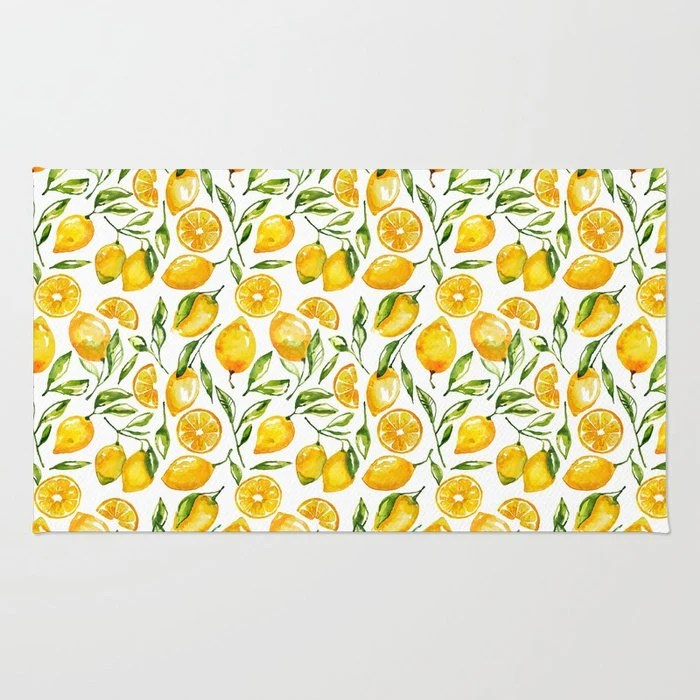 lemon kitchen rug waterstone annapolis faucet decor yellow throw flatweave etsy image 0
