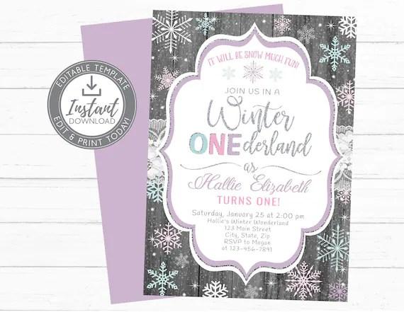 winter onederland snowflake birthday