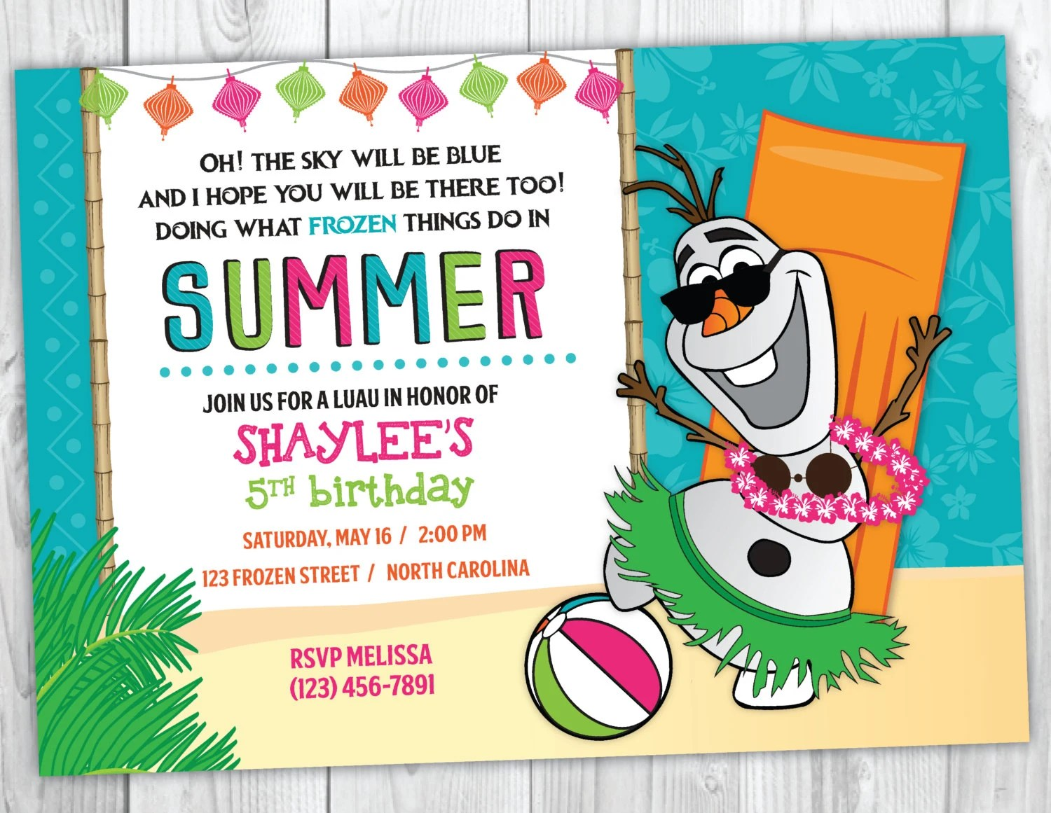frozen olaf summer birthday invitation