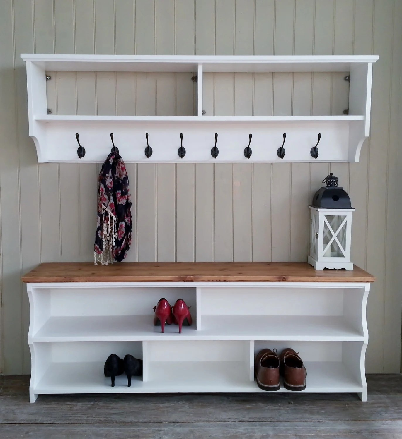 shoe bench with coat rack complete hallway set shoe rack and etsy