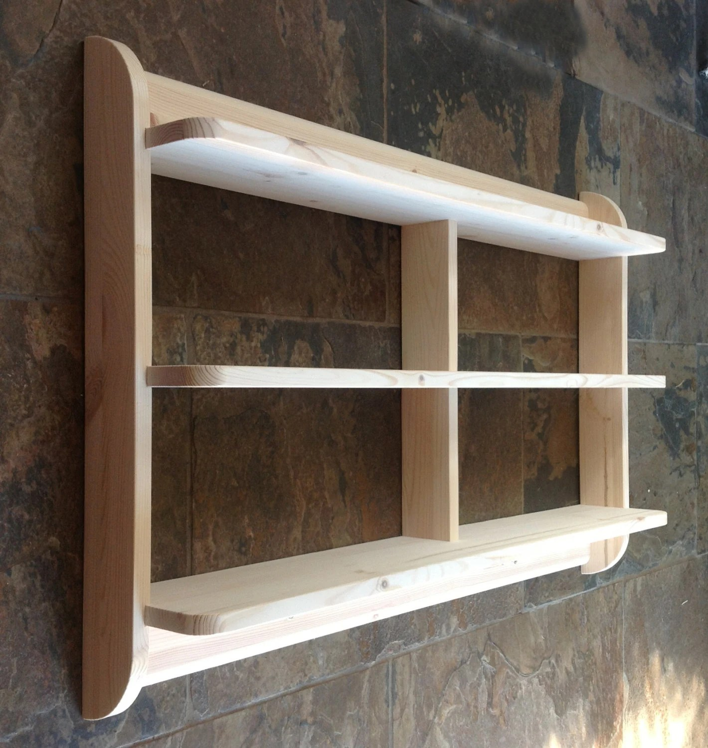 kitchen shelf unit inexpensive flooring wide wall mounted open back shelves or dvd etsy image 0