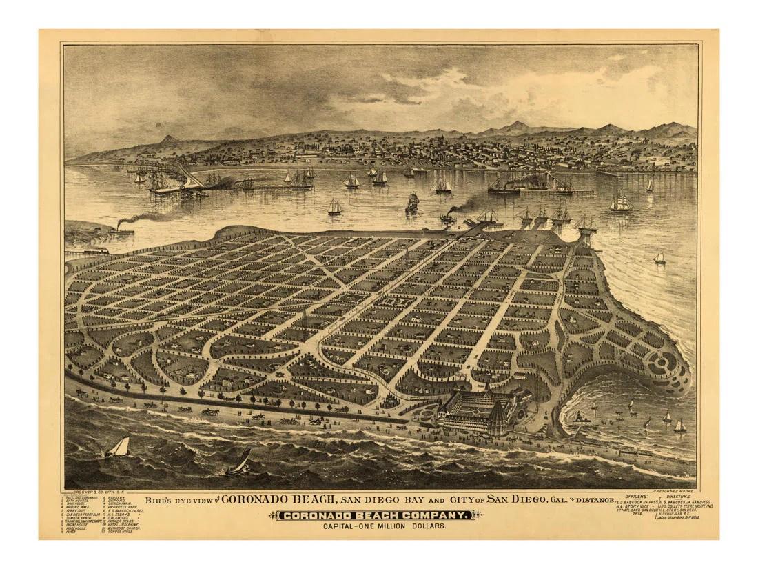 vintage map of coronado beach