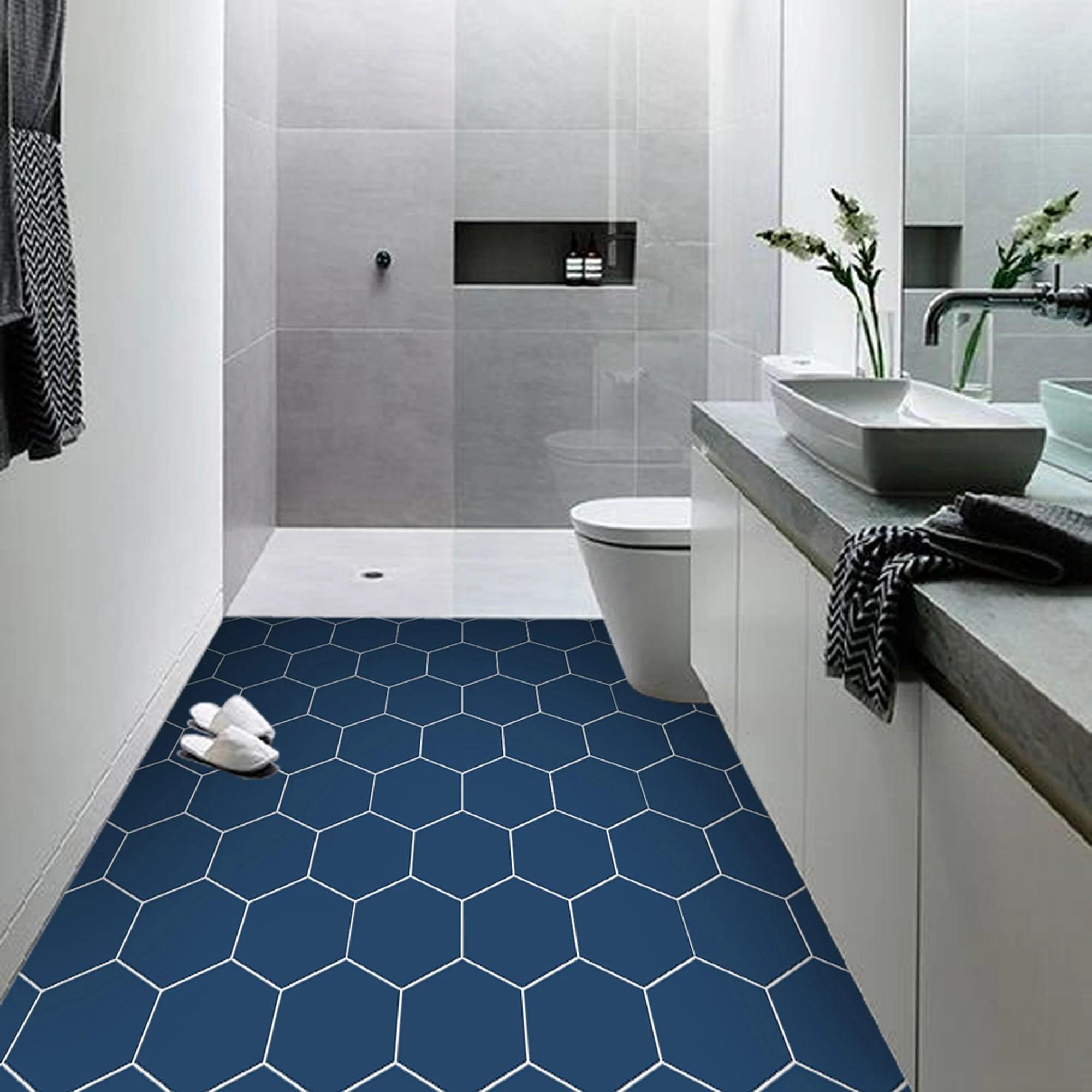 vinyl floor tile sticker panel peel and stick decal hexa admiral blue