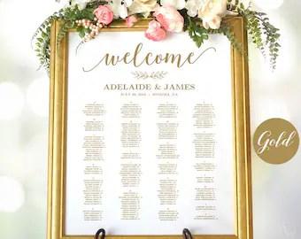 Gold wedding seating chart template poster elegant editable modern calligraphy vw also etsy rh