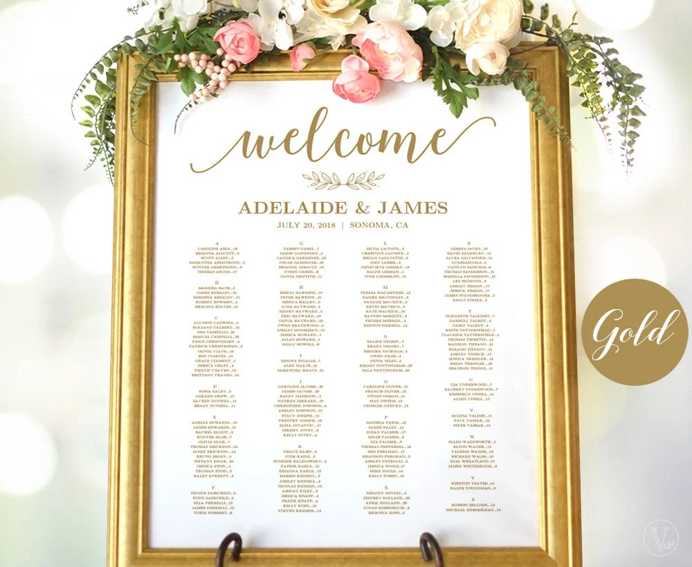 Gold wedding seating chart template poster elegant editable modern calligraphy vw also etsy rh