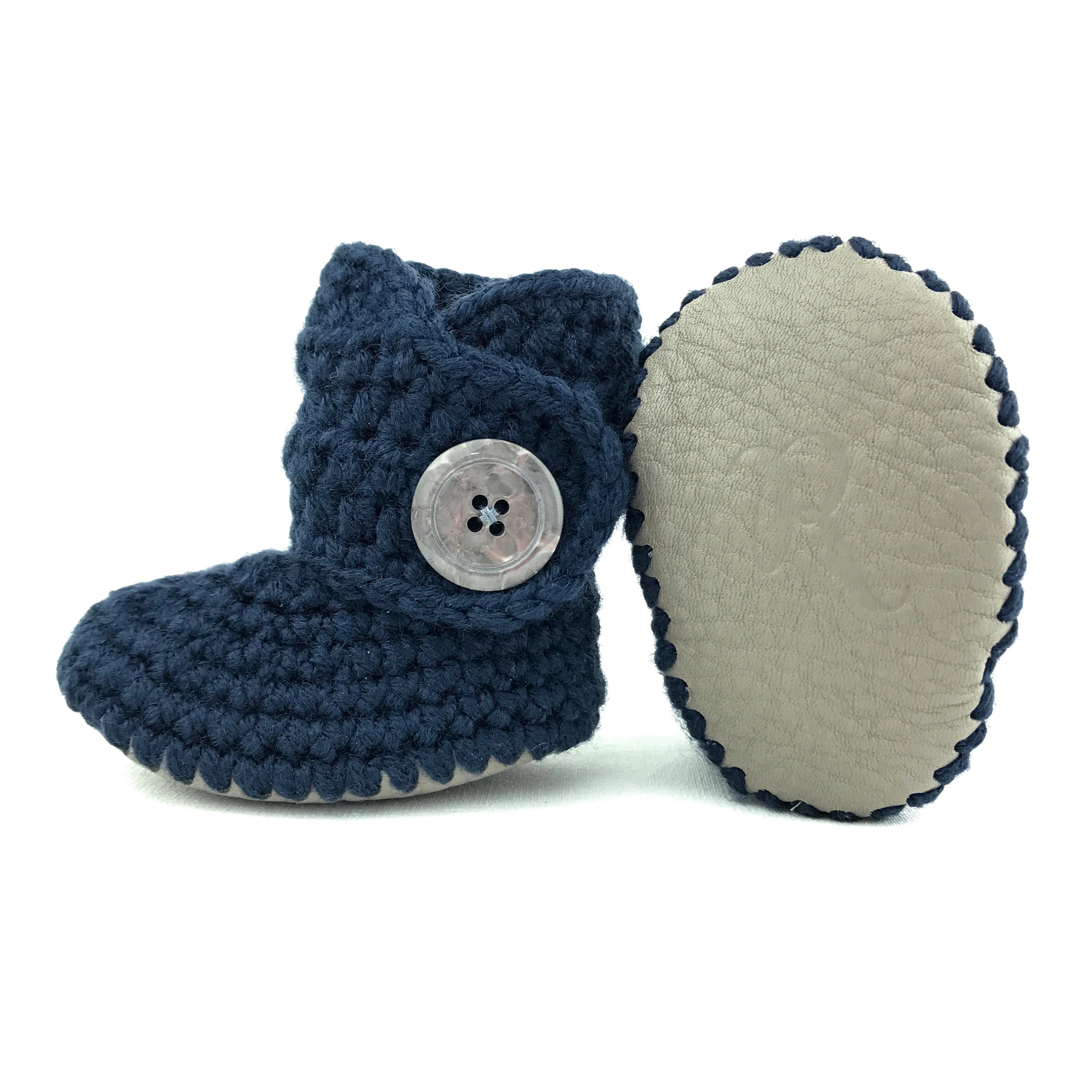 ab00dc3c Baby Boy Shoes Navy Knit Booties Gray Leather Crib Shoes Knitted Boots  Infant Shoes For Boy Winter Girl Clothes 3 6 Months Soft Soles