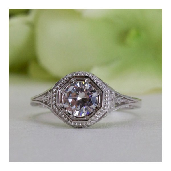 Art Deco Style 1.00 Ct. Fine Quality Cubic Zirconia Ring In