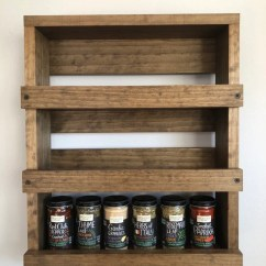 Kitchen Spice Rack Furniture Set Wooden Wall Mounted Storage Wood Etsy Shelf Hanging Modern Rustic