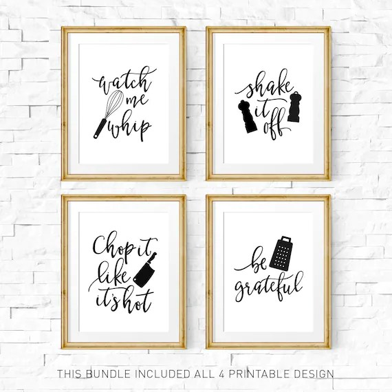 kitchen prints restaurant setup cost signs print set printable art watch me whip they see rollin of 4 image 0