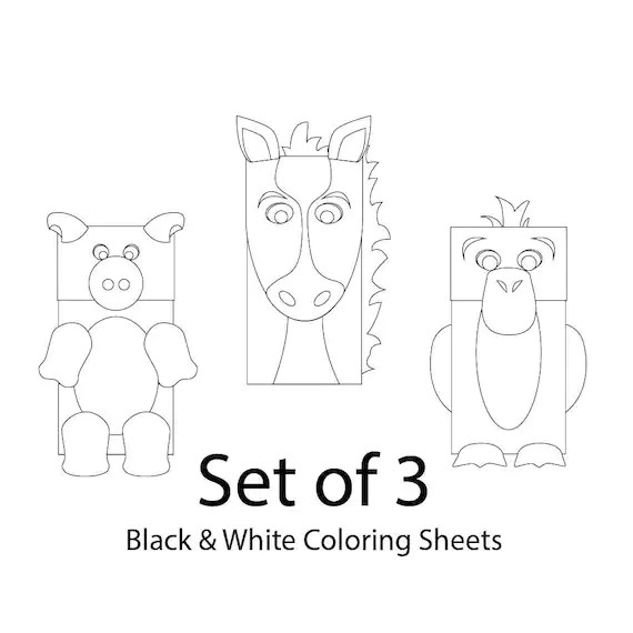 Farm Animals Paper Bag Puppets Set of 3 BLANK for Coloring