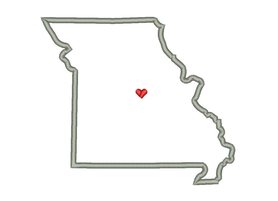 Missouri State Outline Appliqué Designs Machine Applique