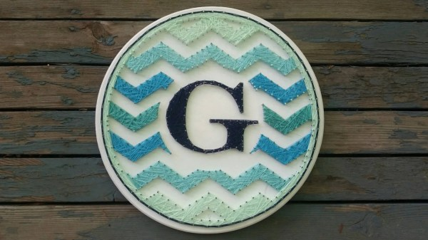 Large Initial Chevron String Art Wall
