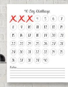 day challenge forty days goals project tracker wall chart organizer planner goal setting self improvement poster success print also organiser etsy rh
