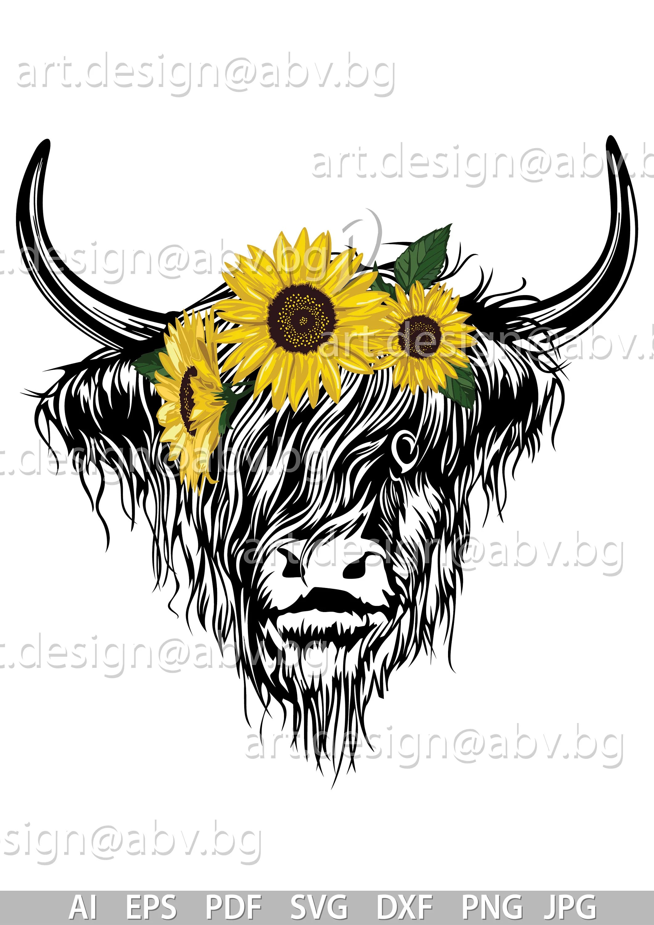 Cute Cow Svg : Vector, BUFFALO, Sunflowers, Highland