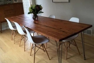 rustic wood kitchen table and chairs for teens reclaimed dining etsy with hairpin legs handmade in portland or