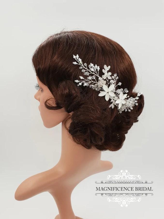 wedding hair piece, bridal headpiece, designer headpiece, bridal comb, wedding comb, bridal hair accessories, matte headpiece, gemma
