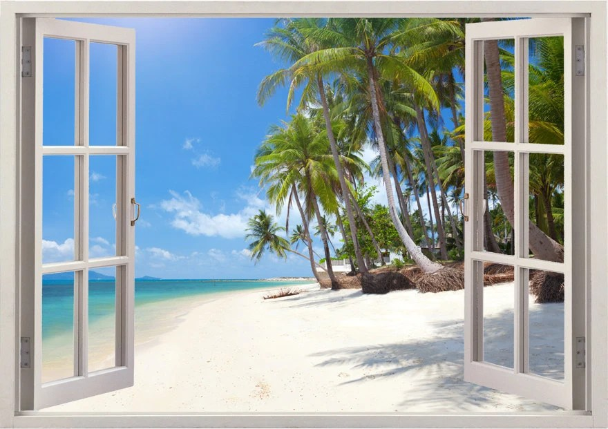 Tropical Beach Wall Decal Palm Tree Decal 3D Window For