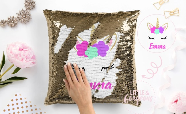 Personalized Unicorn Pillow Sequin Pillow Gift For Her