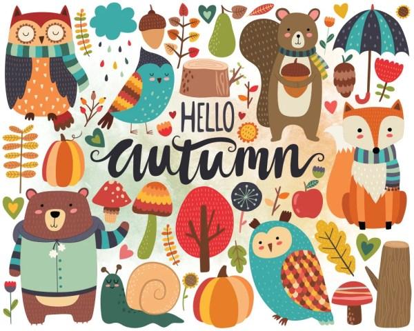 autumn woodland clipart fall