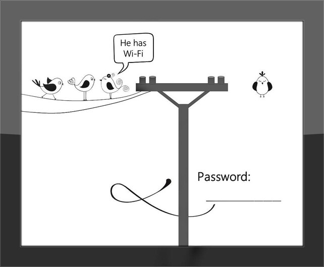 Wi-Fi Password Sign / Funny Home Decor Print / Birds On A