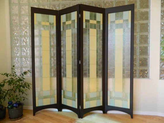 Stained Glass Room Divider 4 Panel Screen Riesling Java Etsy