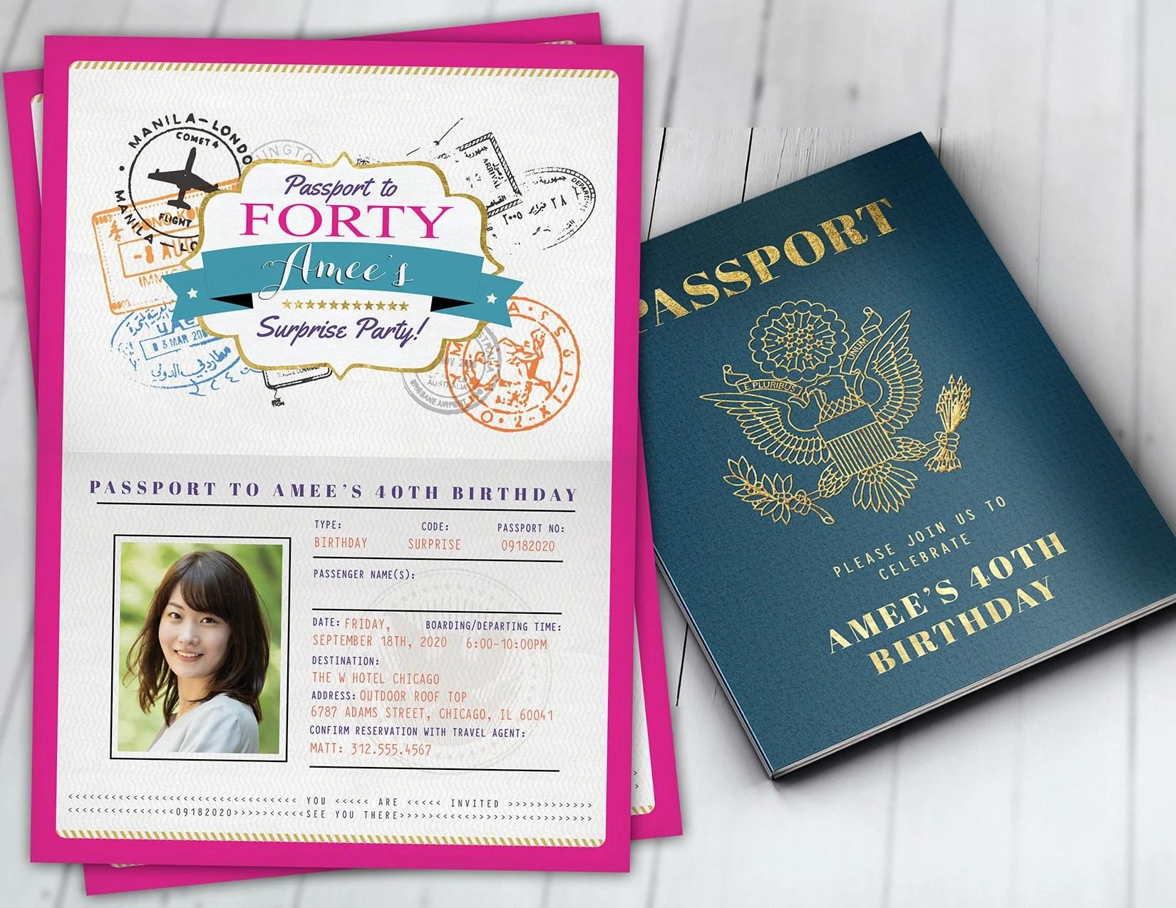 passport invitation template etsy