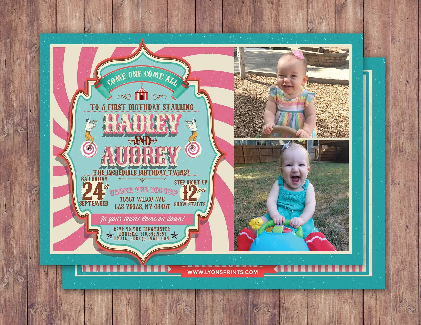 first birthday circus ticket carnival