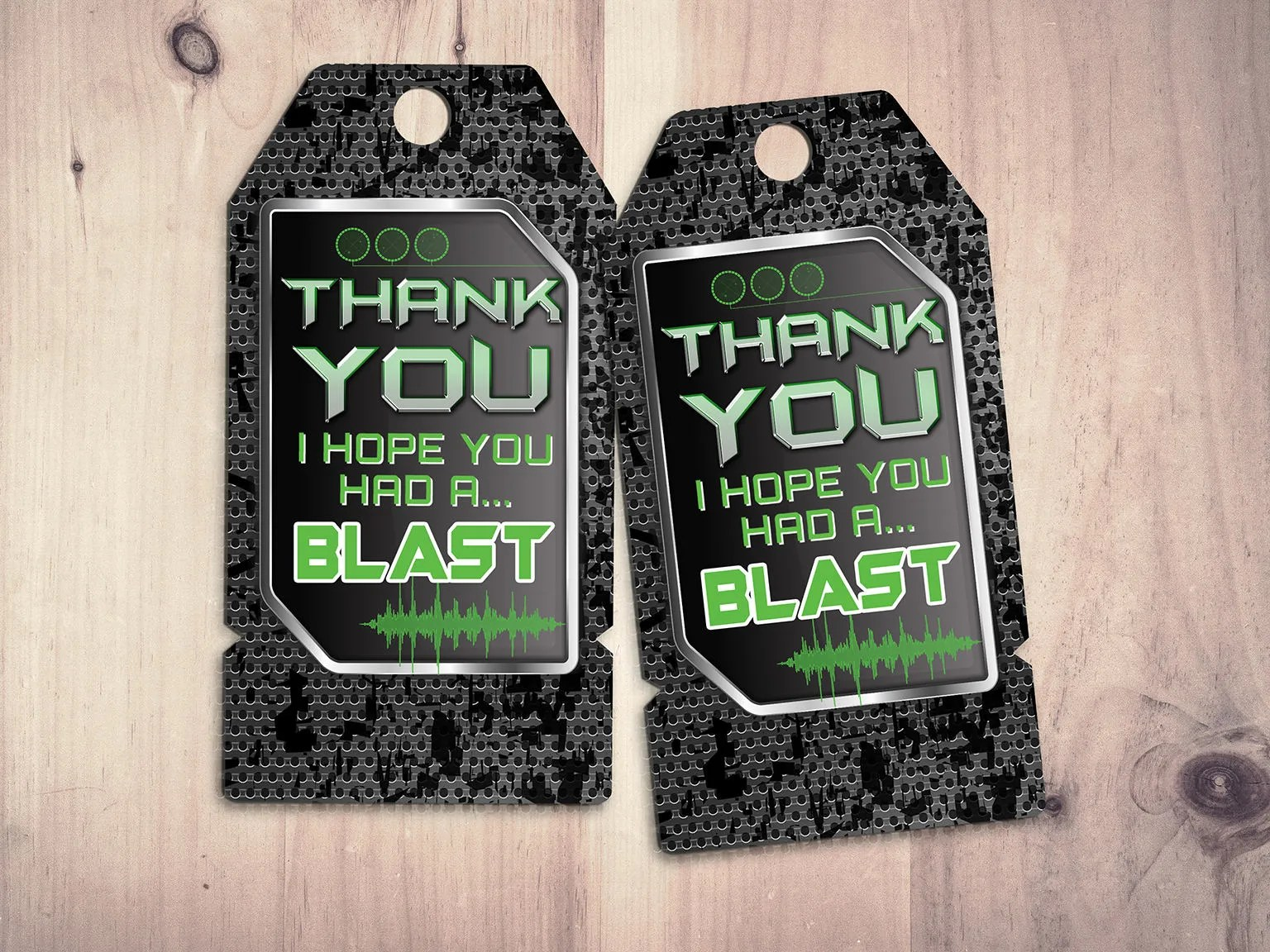 laser tag party thank you tags for