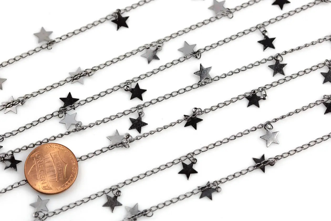 Star Drop Chain Gunmetal Plated Brass High Quality