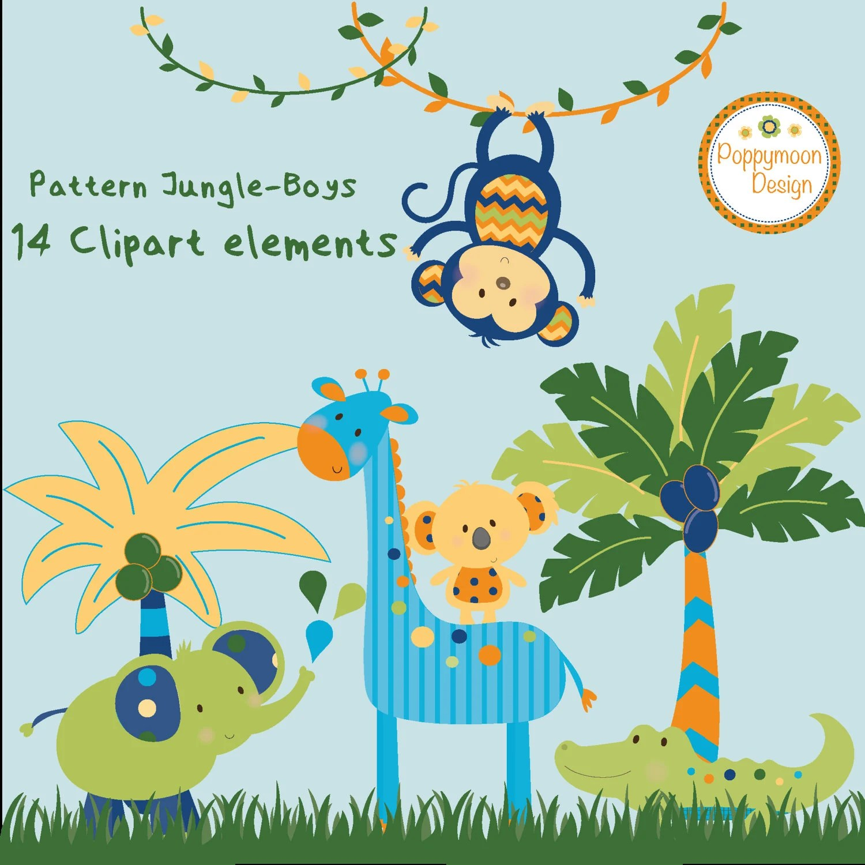 Pattern Jungle Animals Boys Printable Digital Clipart Set