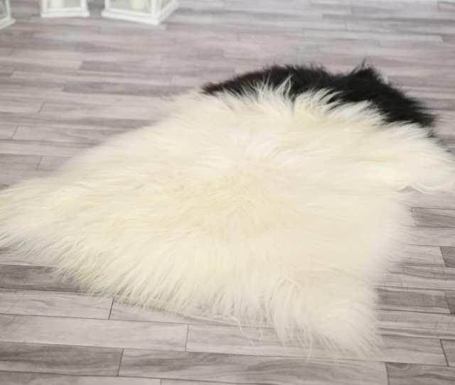 Icelandic Sheepskin Real Sheepskin Rug Large Sheepskin Rug White Black Fur Rug Homedecor Aprisl