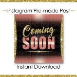 Instant Download Coming Soon Hair Extensions Flyer Glitter Gold Rose Gold Instagram Post Digital Online Flyer Social Media Post Ig Ad