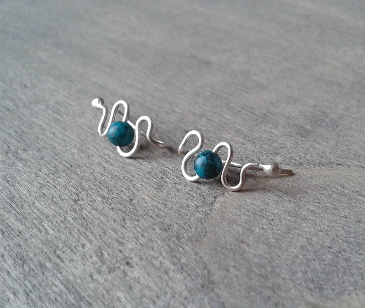 Silver ear climbers turquoise earrings sterling ear cuffs