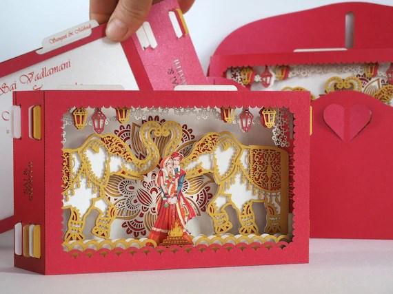 Carte Dinvitation De Mariage Indien Mandap éléphant Torche Fleurs Inde Style Mariée Marié Personnalisé Cartes De Conception Lieu Dor Rouge
