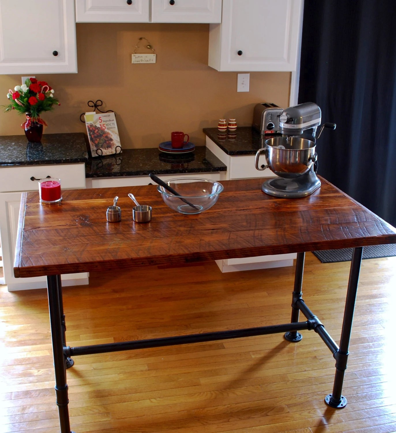 kitchen prep table industrial lighting island pipe etsy image 0