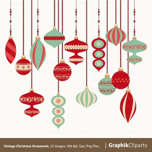 vintage christmas ornaments clipart