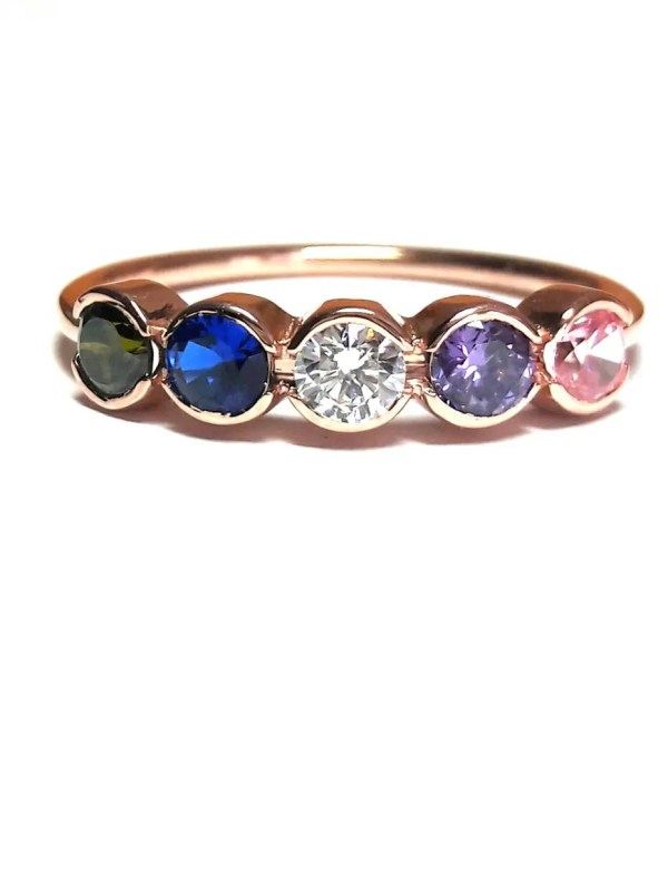 Birthstone Mothers Ring-14k Gold Channel