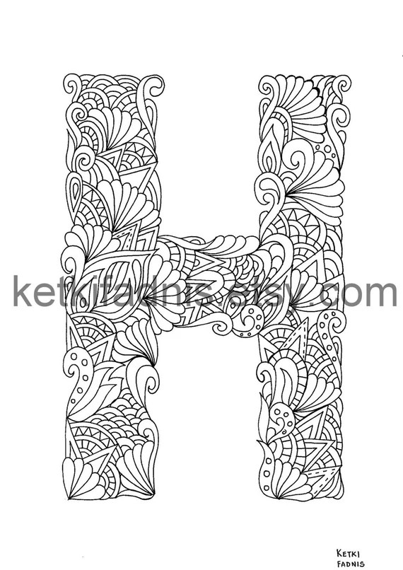 Letter H Coloring Page Instant Pdf Download Alphabet Etsy