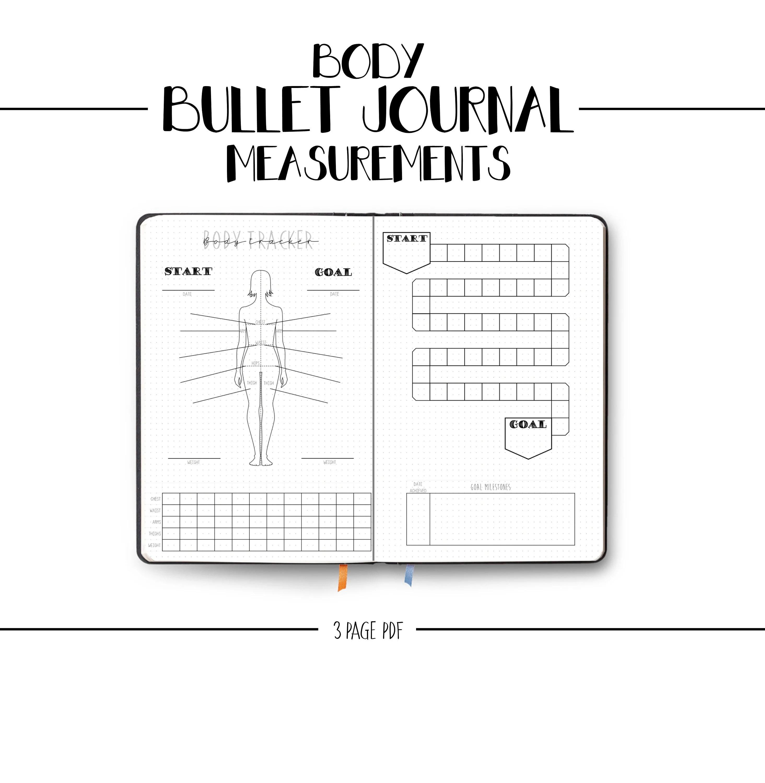 Bullet Journal Body Measurement Template Goal Tracker